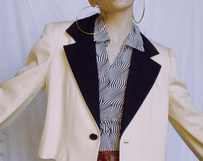 Vintage 80s David Hayes Cropped Contrast Blazer