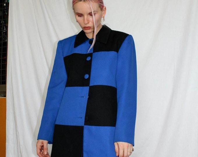 Vintage 80s | Black and Blue Checkered Blazer