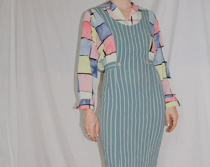 Vintage 90s | Striped Jumper Dress