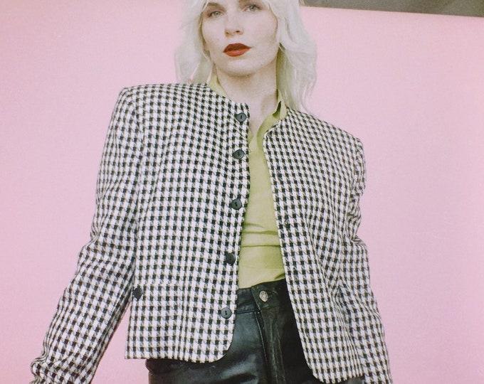 Vintage 80s Check Rayon Blazer