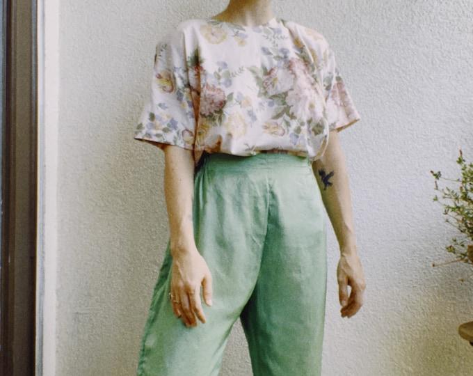 Vintage Handmade Jade Silk Pants