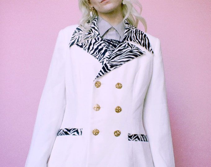 Vintage 80s | White Blazer with Zebra Print Trim