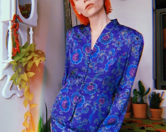 Vibrant 90s Silk Suit Set