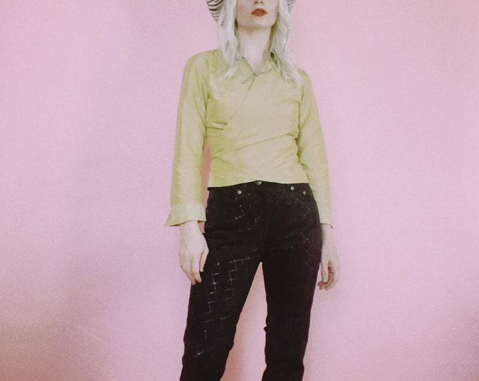 """Vintage 90s """"M"""" Embossed Black Suede Pants"""