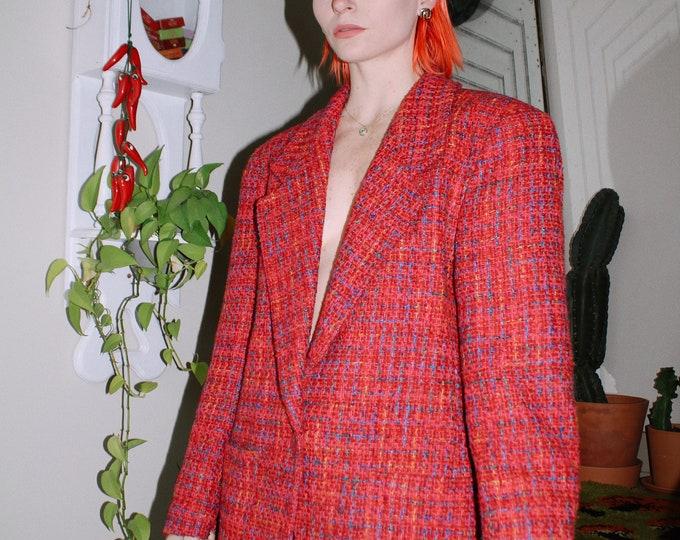 Oversized Colorful Tweed Blazer
