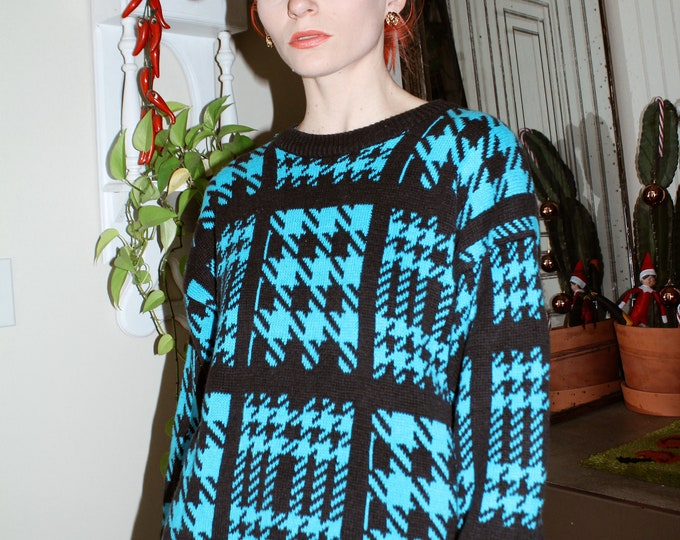 Houndstooth Patchwork Sweater