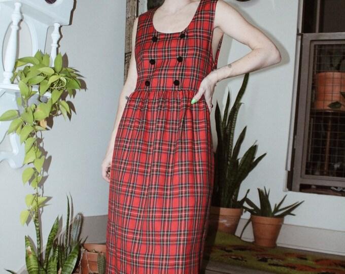 Red Tartan Midi Dress