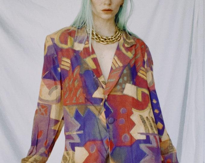 Vintage 80s | Colorful Lightweight Blazer