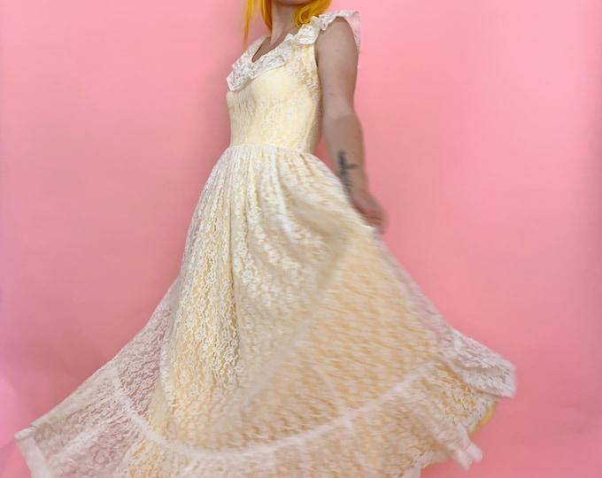 60s/70s Handmade Butter Yellow Lace Dress