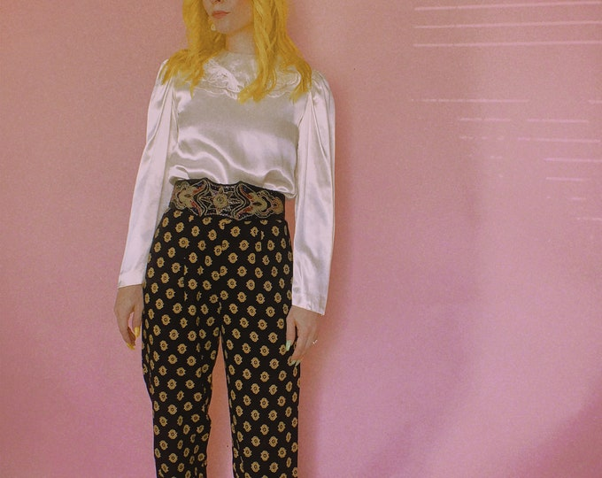 90s Rayon Printed Trousers