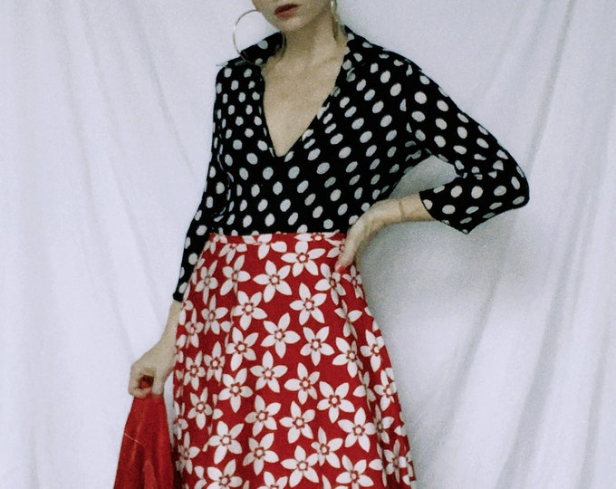 Vintage 60s | Handmade Red/White Mod Floral Skirt