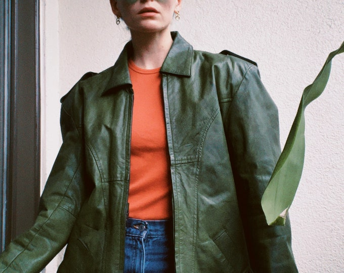 Vintage 80s | Green Leather Jacket