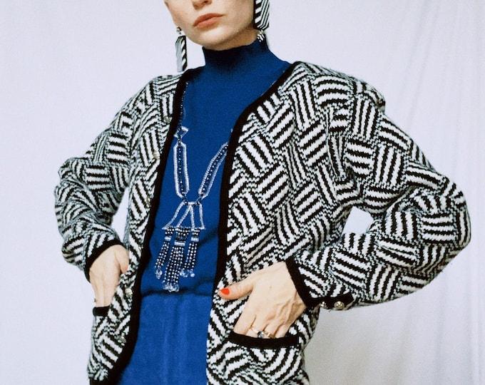 Vintage 80s | B/W Tally Ho Cardigan