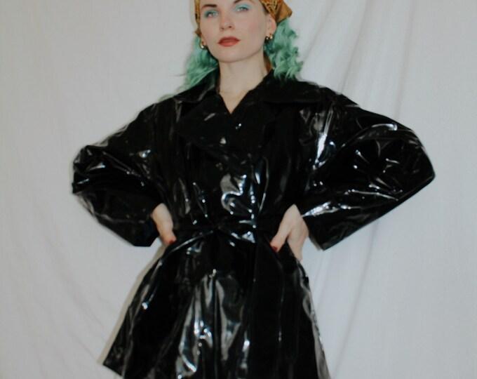 Vintage 1990s | Black Vinyl Belted Jacket