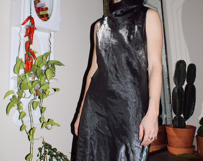 90s Jessica McClintock Steel Shine Gown