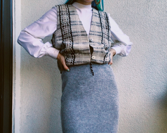Vintage 90s | Lambswool/Angora Grey Skirt