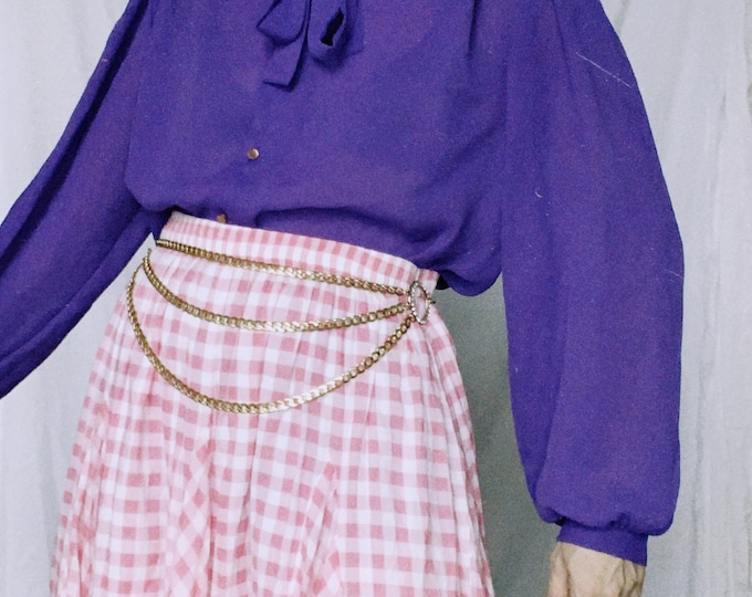 Vintage 80s | Violet Poly Blouse with Ruffle & Necktie