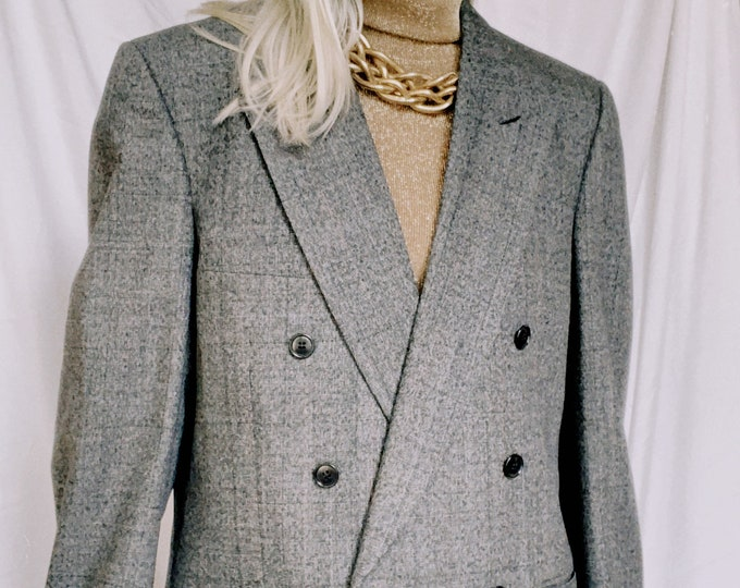 Vintage 80s | Charcoal Grey Wool Double Breasted Blazer