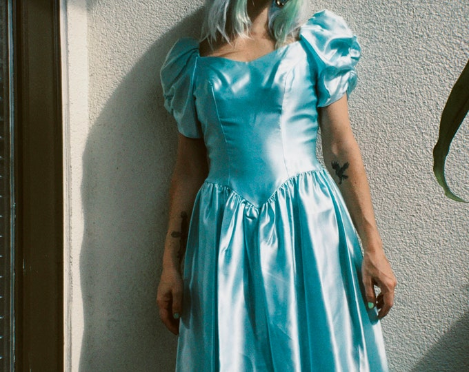 Vintage Baby Blue Satin Dress