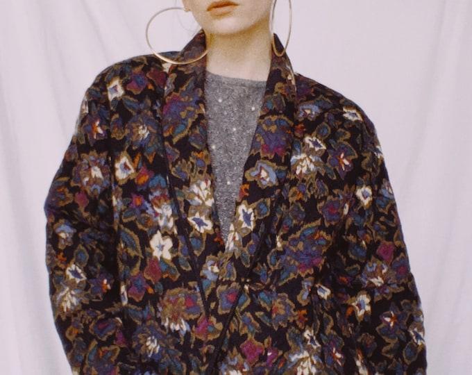 Vintage 80s | Floral Quilted Blazer