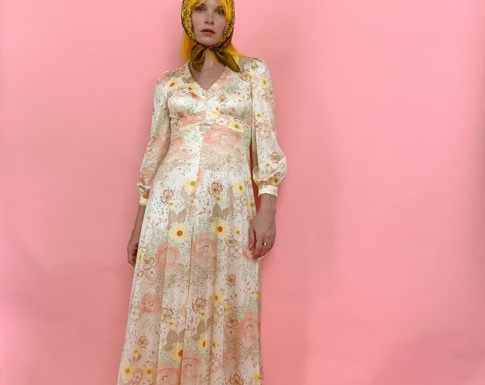 70s Pastel Floral Dress