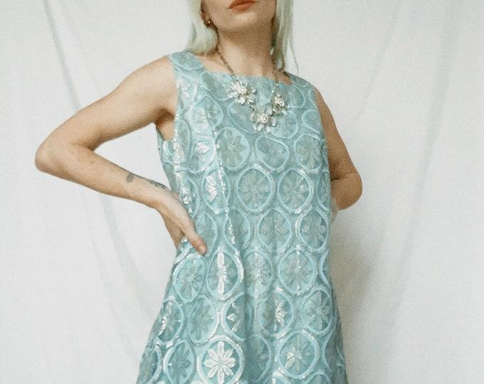 Vintage 60s | Blue Brocade Shift Dress