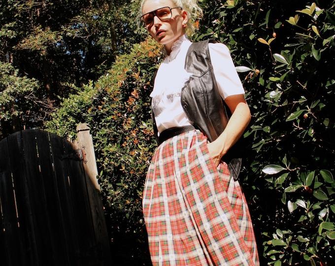 Vintage 80s | Plaid Pleated Skirr