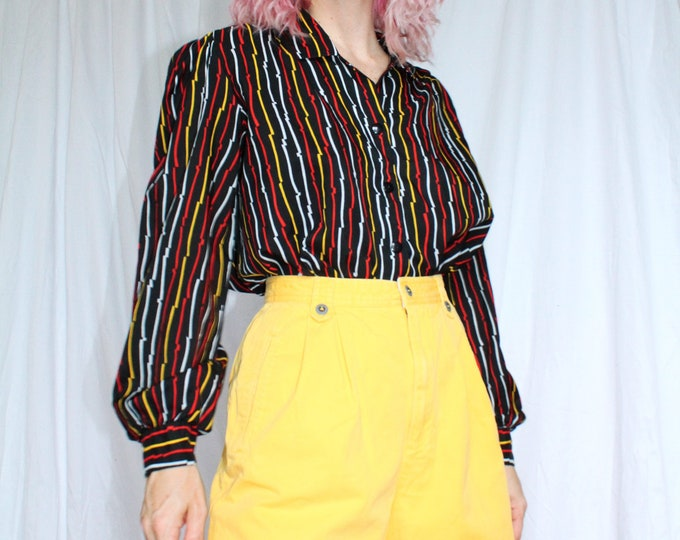 Vintage 80s | Imperfect Stripe Cropped Blouse