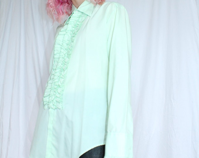 Vintage 70s | Mint Green Tuxedo Shirt with French Cuffs
