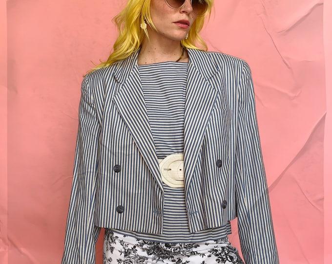 Blue/Cream Striped 80s Blazer Set