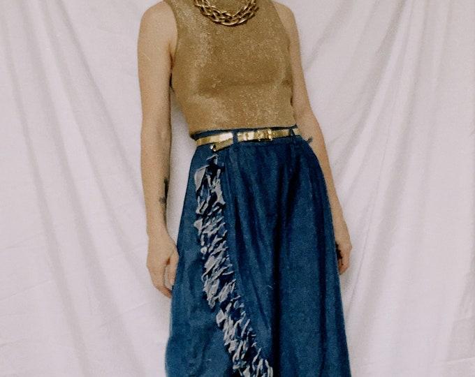 Vintage 70s | Frayed Denim Tulip Midi Skirt
