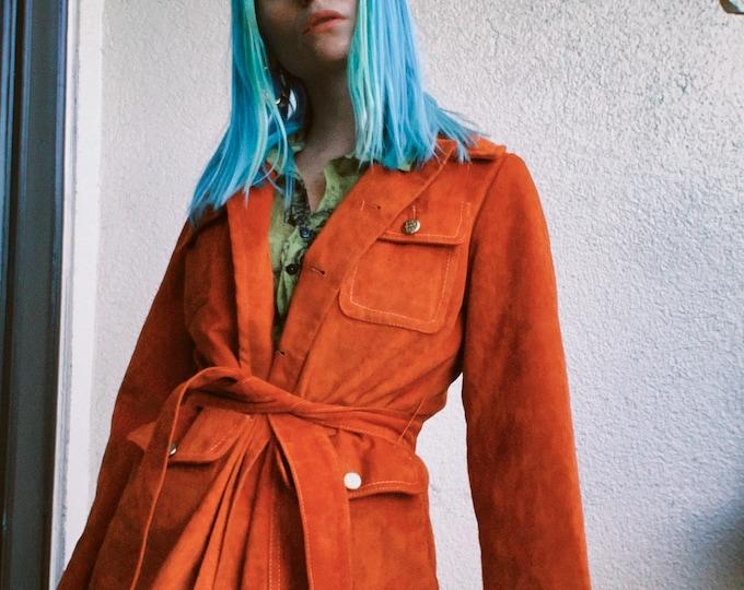 Vintage 70s | Burnt Orange Faux Suede Belted Coat