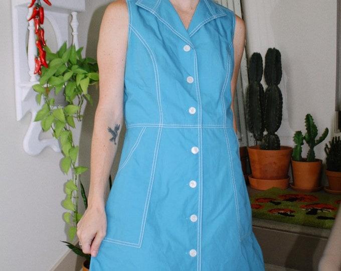 Blue Contrast Stitch Dress