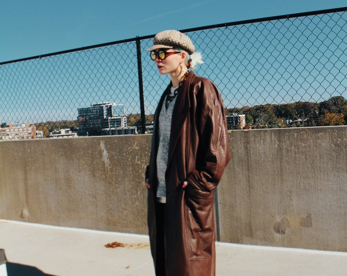 Vintage 80s | Winlit Brown Leather Coat