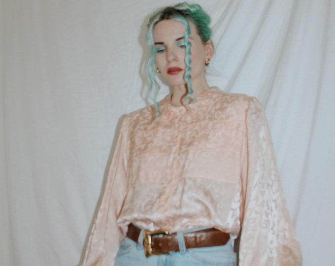 Vintage 1980s | Pastel Peach Brocade Blouse