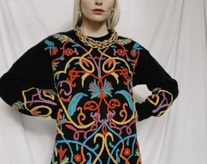 Vintage 80s | Colorful Embroidered Black Knit