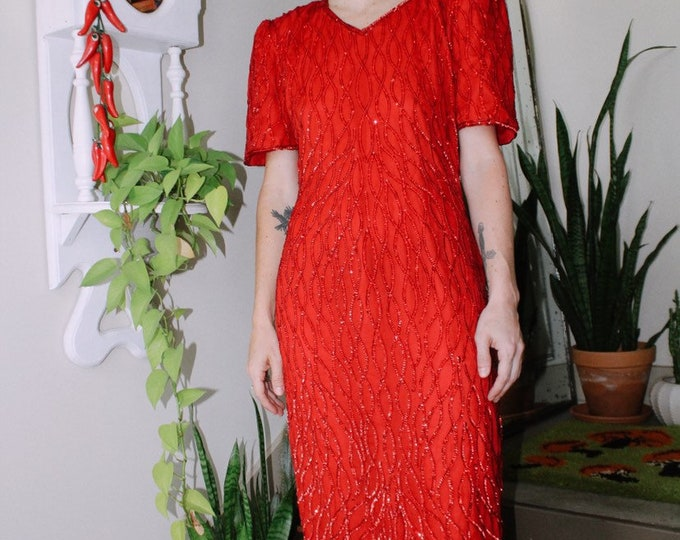 80s Red Glam Gown