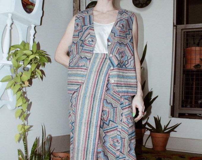 Printed Denim Skirt/Vest Set