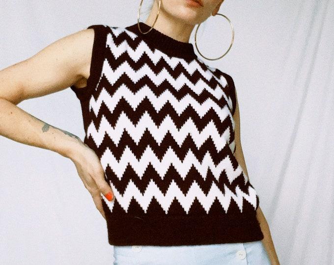Vintage 80s | Handmade Chevron Sweater Vest