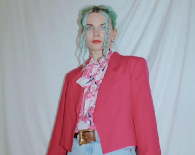 Vintage 1980s | Fuchsia Pink Wool Crepe Boxy Blazer