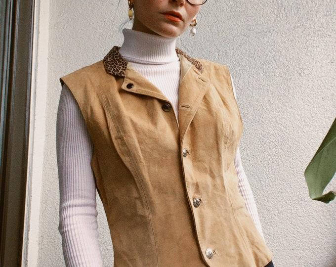 Vintage 80s | Tan Suede Vest with Leopard Print Collar