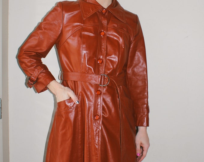 Vintage 70s   Leather Trench