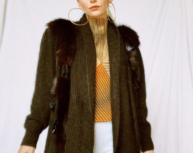 Vintage 80s | Brown Mohair Cocoon Cardigan