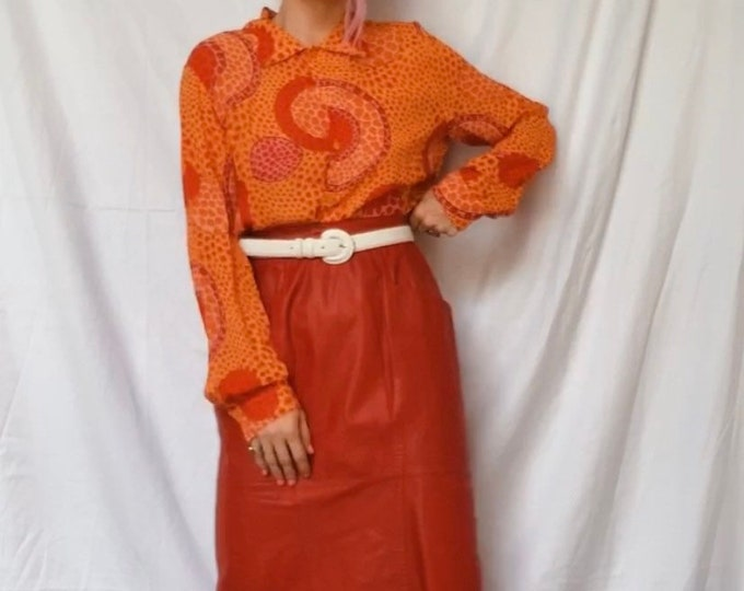 Vintage | Red Leather Pencil Skirt