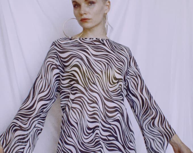 Vintage 90s/Y2K Zebra Print Sheer Top