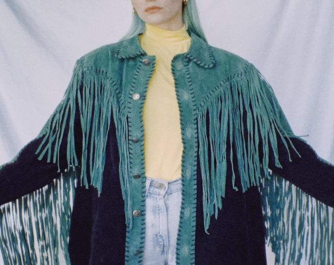 Vintage 80s | Bob Mackie Emerald Fringe Suede Jacket