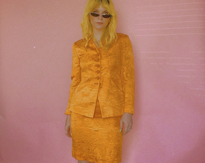 90s Textured Orange Christian Dior Skirt Suit