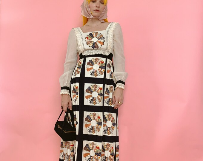 70s Handmade Quilted Maxi Dress
