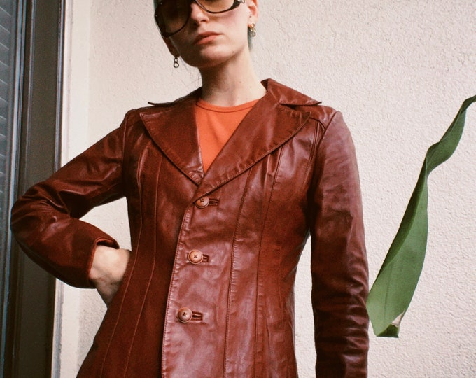 Vintage 70s | Burgundy Leather Blazer