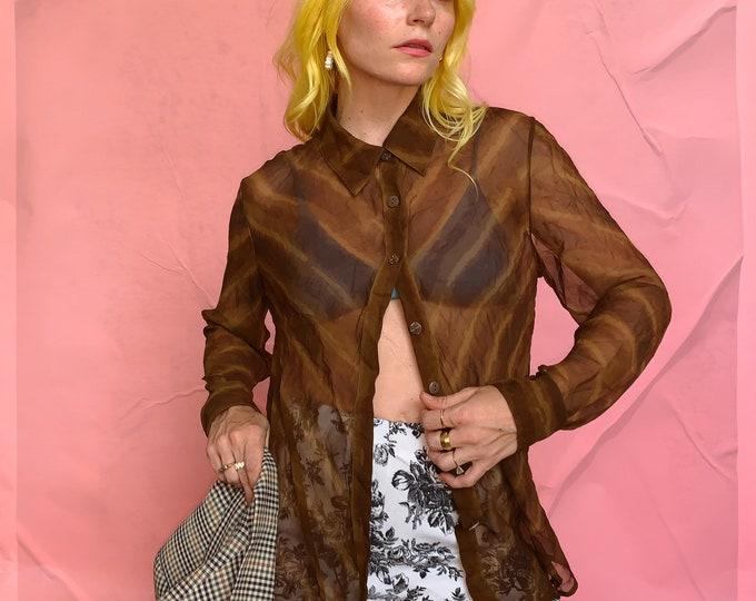 Brown 90s Silk Vera Cristina Sheer Blouse